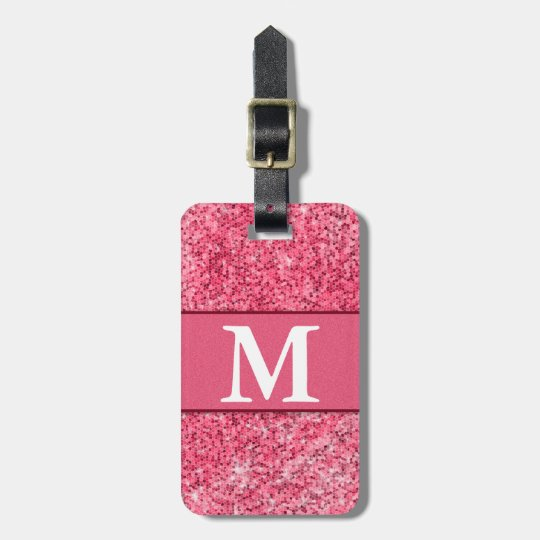 Cute Girly Hot Pink Red Glitter Monogram Contact