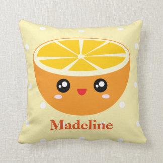 Cute Girly Kawaii Happy Sweet Orange Cartoon Cushion