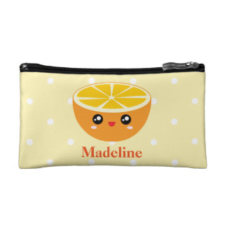 Cute Girly Kawaii Happy Sweet Orange Cartoon Makeup Bag