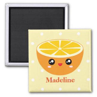 Cute Girly Kawaii Happy Sweet Orange Cartoon Square Magnet