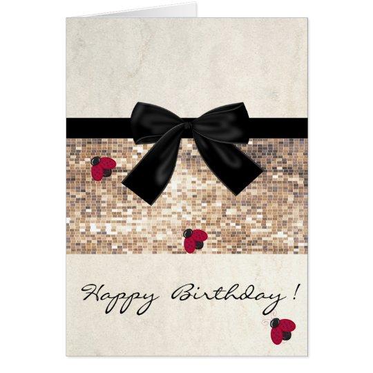 Cute Girly Ladybugs,Sequins,Bow ,Birthday Card