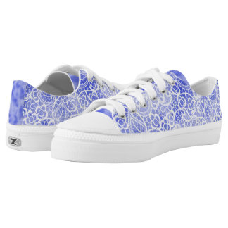 Cute, Girly Light Blue with Lace Accents Printed Shoes