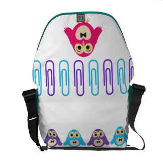 Cute Girly Messenger Bag Colourful owls and clips
