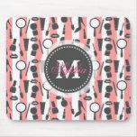 Cute girly  monogram cosmetics stripes pattern mouse mats