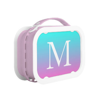 cute girly ombre mermaid pink Fuchsia turquoise Lunch Box