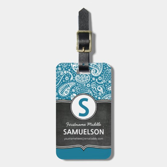 Cute Girly Paisley Chalkboard Monogram Luggage Tag