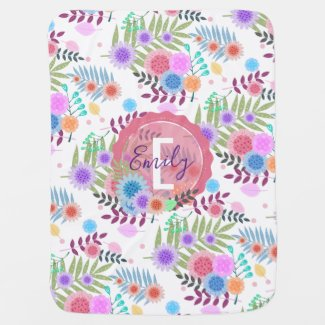 Cute Girly Pastel Floral Pattern Personalized Baby Blanket