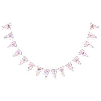 Cute Girly Pastel Pink Cupcake Happy Birthday Bunting