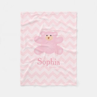 Cute Girly Pastel Pink Teddy Bear Fleece Blanket