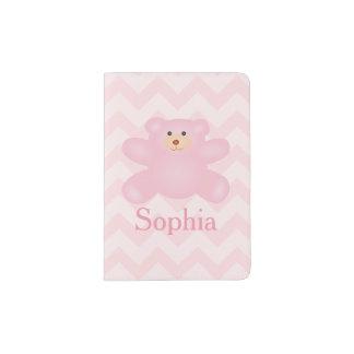 Cute Girly Pastel Pink Teddy Bear Passport Holder