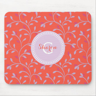 Cute girly pastel purple floral pattern monogram mouse pads