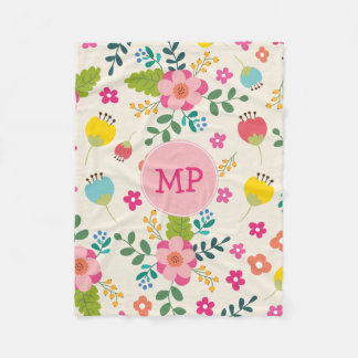 Cute Girly Pastel Spring Flower Pattern + Monogram Fleece Blanket