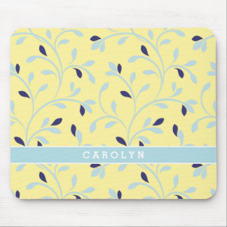 Cute girly pastel yellow floral pattern monogram mouse pad