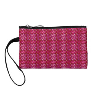 Cute Girly Pink Abstract Floral Print Coin Purse