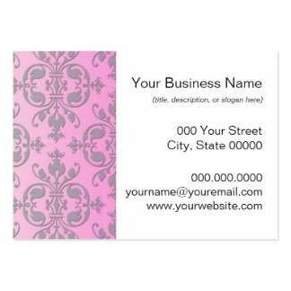 Cute Girly Pink and Grey Damask Business Cards