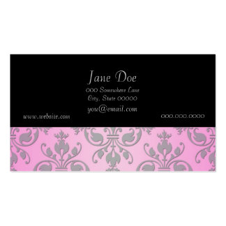 Cute Girly Pink and Grey Damask Business Card