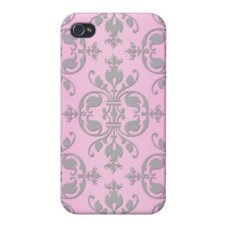 Cute Girly Pink and Grey Damask Cover For iPhone 4