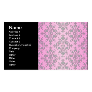 Cute Girly Pink and Grey Damask Pack Of Standard Business Cards
