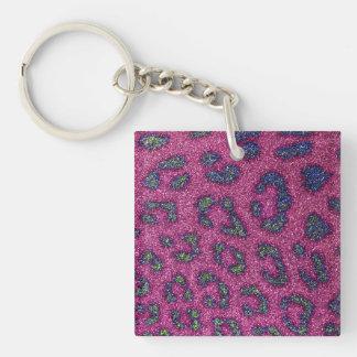 Cute Girly Pink and mulitcolored glitter Cheetah Key Ring