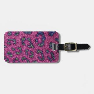 Cute Girly Pink and mulitcolored glitter Cheetah Luggage Tag