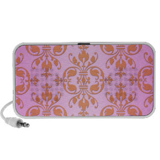 Cute Girly Pink and Yellow Damask Portable Speakers