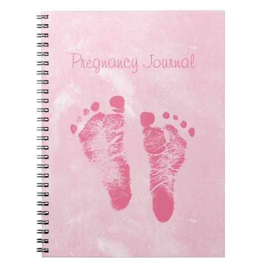 Cute Girly Pink Baby Footprints Pregnancy Journal