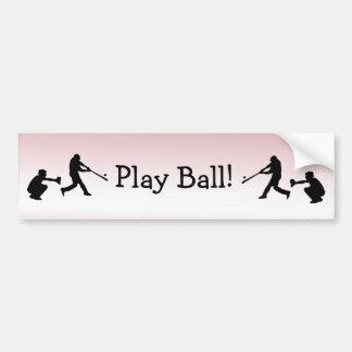 Cute Girly Pink Baseball Play Ball Bumper Sticker