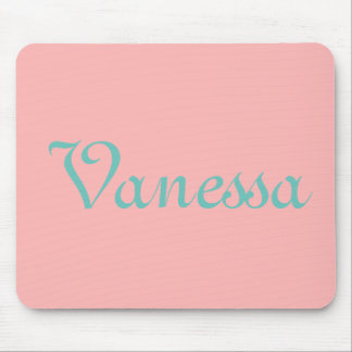 Cute Girly Pink Blue Monogrammed Personalized Mouse Pad