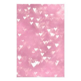 Cute Girly Pink Bokeh Heart Stationery