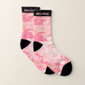 Cute Girly Pink Camouflage Personalized Name Socks