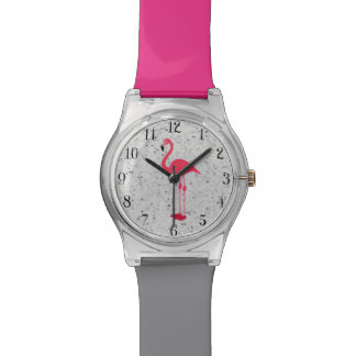 Cute Girly Pink Elegant Flamingo Watch