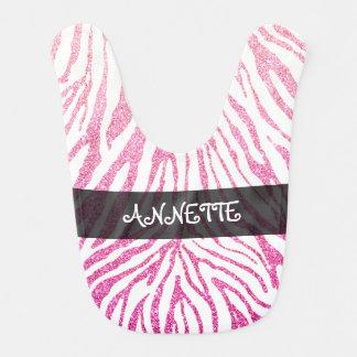 Cute Girly Pink Faux Glitter Zebra Pattern Baby Bibs