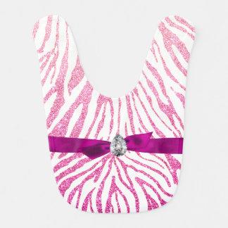 Cute Girly Pink Faux Glitter Zebra Pattern Ribbon Bib