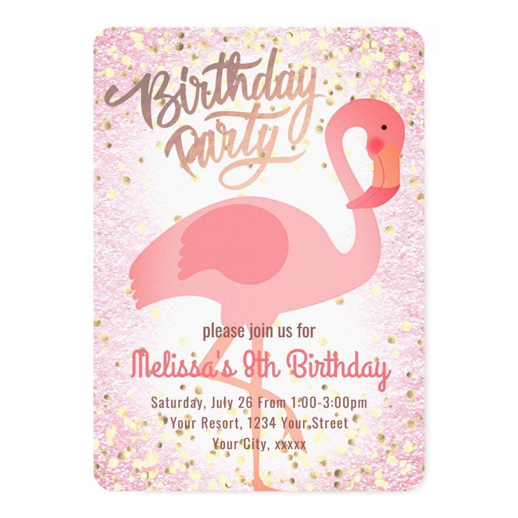 cute girly pink flamingo party card