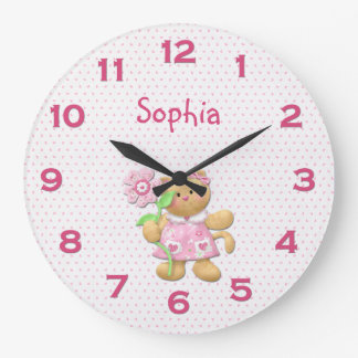 Cute Girly Pink Floral Kitten Wall Clock