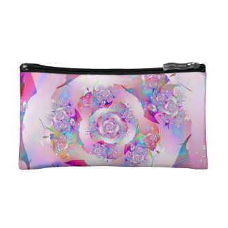 Cute Girly Pink Floral Vector Rose Cosmetic Bags