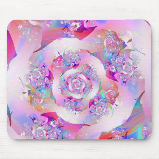 Cute Girly Pink Floral Vector Rose Mouse Mat