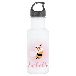 Cute Girly Pink Flower Girl Bee Cartoon 532 Ml Water Bottle