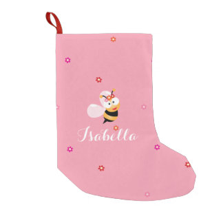 Cute Girly Pink Flower Girl Bee Cartoon Kids Small Christmas Stocking