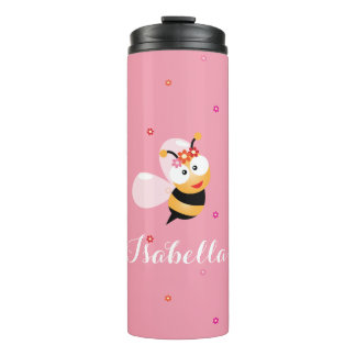 Cute Girly Pink Flower Girl Bee Cartoon Thermal Tumbler