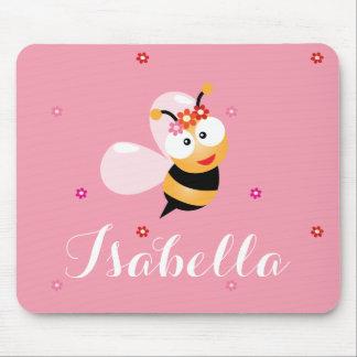 Cute Girly Pink Flower Girl Bumble Bee Cartoon Mouse Mat