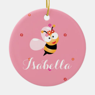 Cute Girly Pink Flower Girl Bumble Bee Cartoon Round Ceramic Decoration