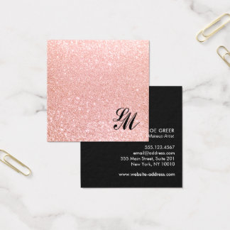 Cute Girly Pink Glitter Monogram Beauty Square Business Card