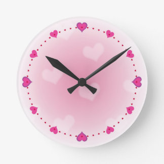 Cute girly pink hearts Valentine's design Round Clock