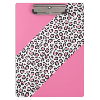 Cute Girly Pink Leopard Cheetah Stripe Clipboard