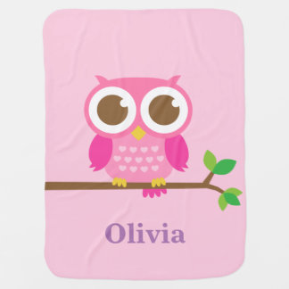 Cute Girly Pink Owl For Baby Girls Baby Blanket