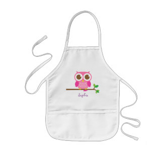 Cute Girly Pink Owl For Girls Kids Apron