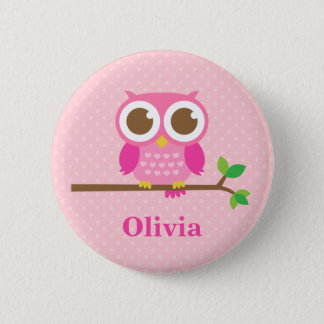 Cute Girly Pink Owl on Branch For Girls 6 Cm Round Badge