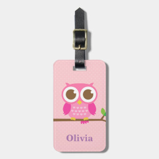 Cute Girly Pink Owl on Branch For Girls Bag Tags