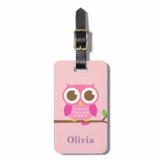 Cute Girly Pink Owl on Branch For Girls Luggage Tag